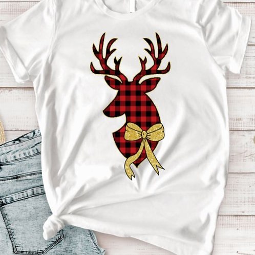 SUBLIMATED TEE Short or Long Sleeve Christmas Reindeer Plaid