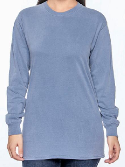 Comfort Colors Unisex Adult Long Sleeve Tee Blue Jean