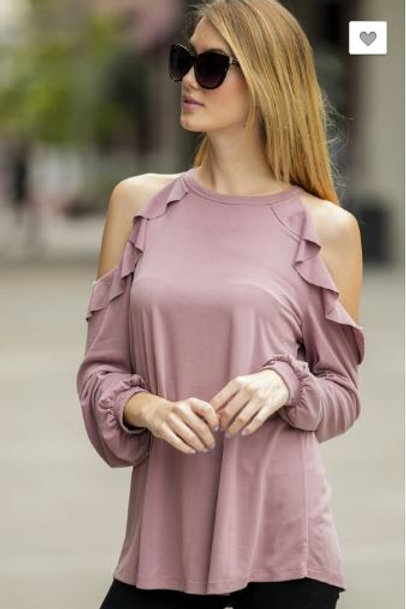 Cold Shoulder Ruffle Top Long Sleeve Shirt Dusty Rose