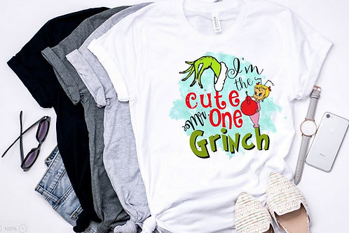 SUBLIMATED TEE Short or Long Sleeve I'm the Cute One Mr. Grinch