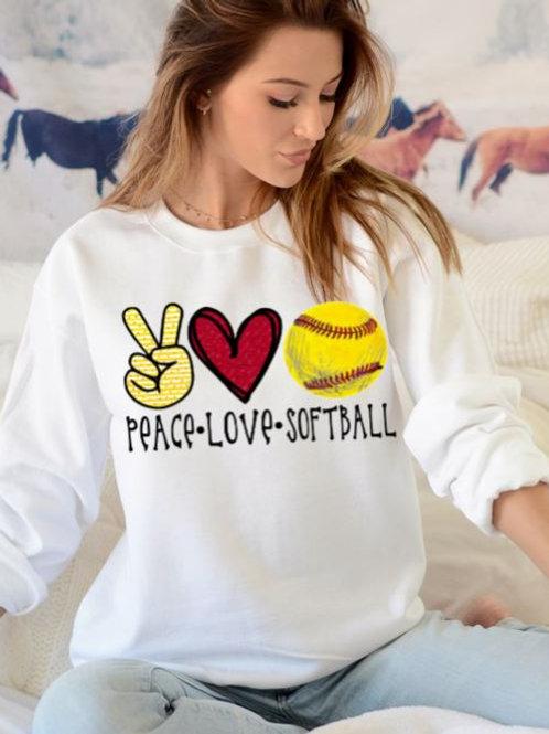 SUBLIMATED Sweatshirt Peace Love Softball