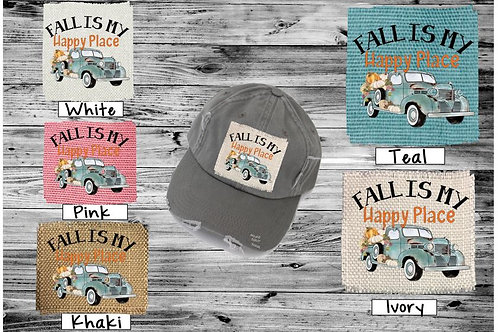 Sublimated Trucker Hats Many Colors Fall is My Happy Place Green Truck