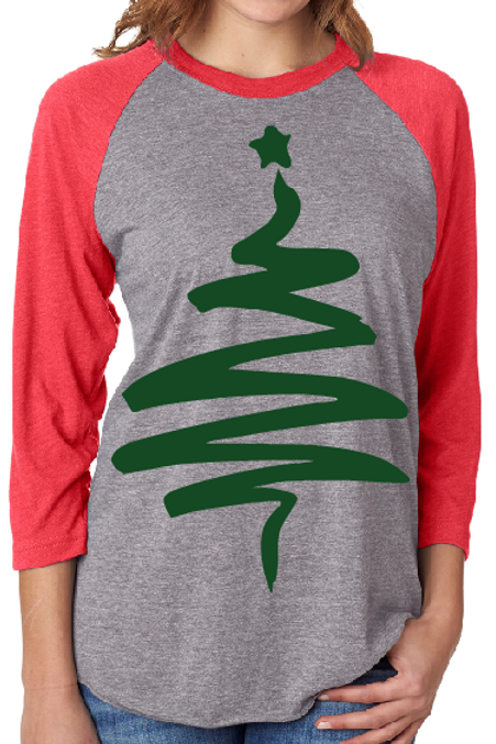 CHRISTMAS RAGLAN SHIRT Christmas Tree Design Print
