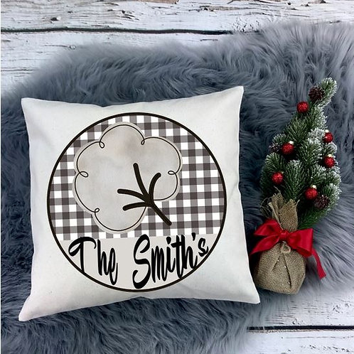Personalized SUBLIMATED Pillow Covers Cotton Blossom Plaid Family Name