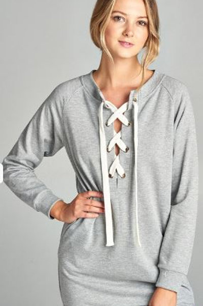 Long Raglan Sleeve Lace-up French Terry Dress Shirt Gray