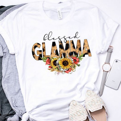 SUBLIMATED TEE Short or Long Sleeve Blessed GLAMMA Leopard Sunflower