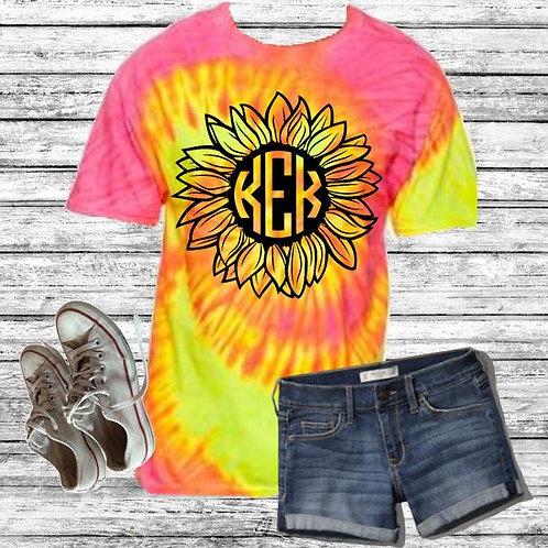 Graphic Tie Dye TEE Short Sunflower Handdrawn Monogram Block