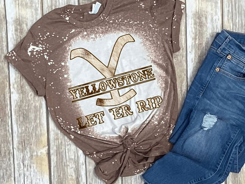 BLEACHED TEE Short or Long Sleeve Yellowstone Cowhide