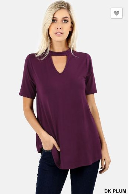 Choker Neck Round Hem Top Short Sleeve Shirt Dk Plum