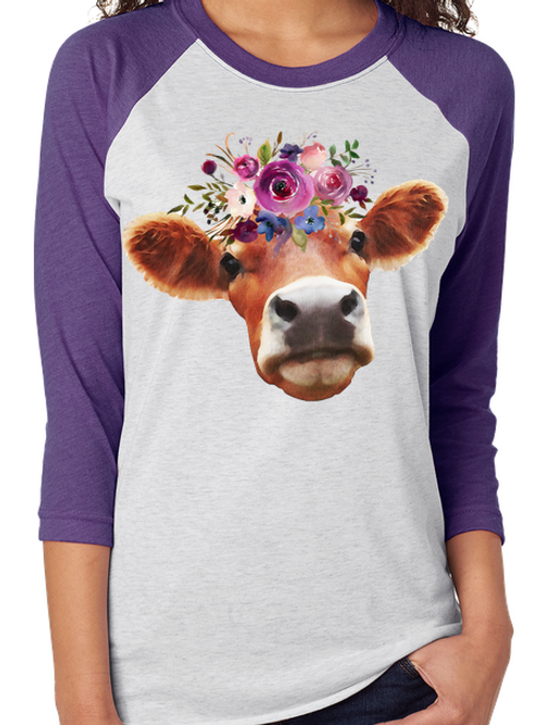SUBLIMATED TEE Cow Close Up Flowers
