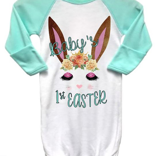 SUBLIMATED Baby Gown RAGLAN Baby's First Easter