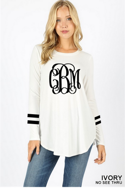 GRAPHIC TEE Tunic Long Sleeve Ivory Team or Monogram