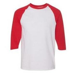 Gildan Unisex 3/4 Sleeve Raglan Tee Red/White