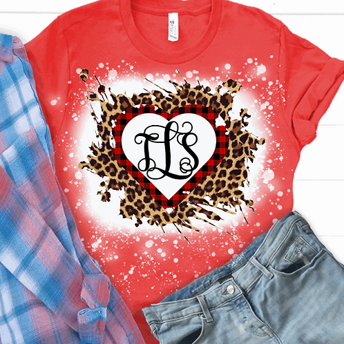 BLEACHED TEE Short or Long Sleeve Valentine Monogram#1
