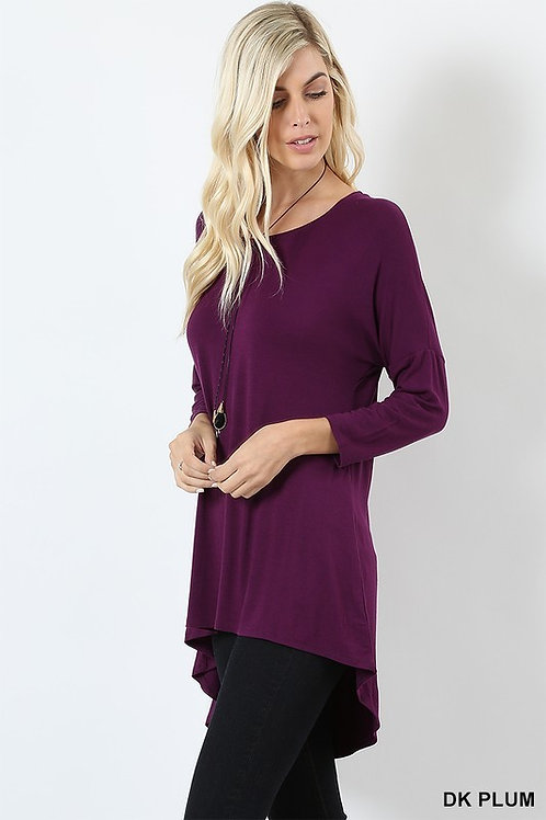 Dolman Top Hi Low Rayon Solid Long Tunic All Colors S - XL