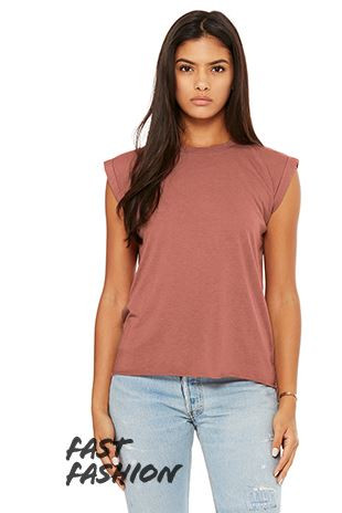 9c5ed4e399 Bella & Canvas Women's Flowy MuscleTee with Rolled Cuff Size S - XL