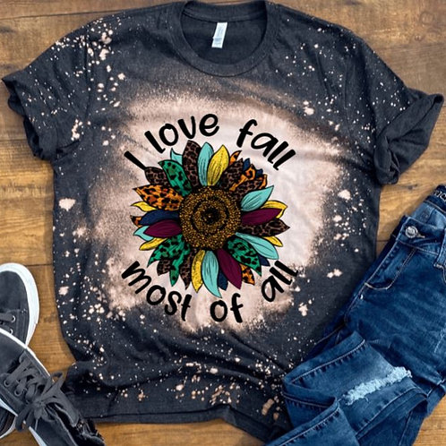BLEACHED TEE Short or Long Sleeve I Love the Fall Most of All Sunflower