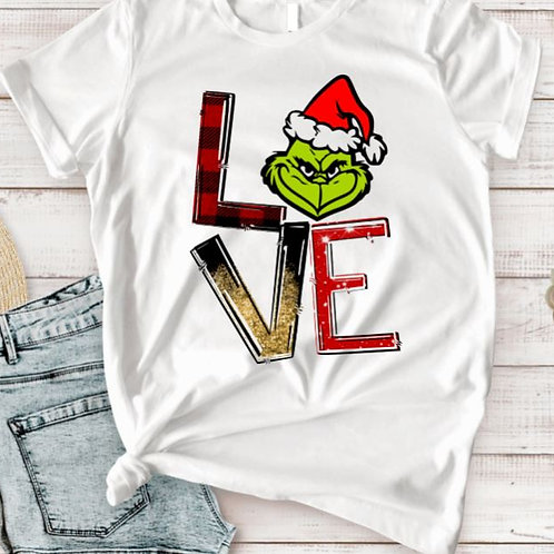 SUBLIMATED TEE Short or Long Sleeve Christmas LOVE Grinch