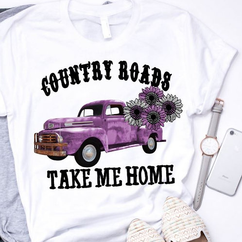 SUBLIMATED TEE Short Sleeve or Tank Country Roads Purple Truck