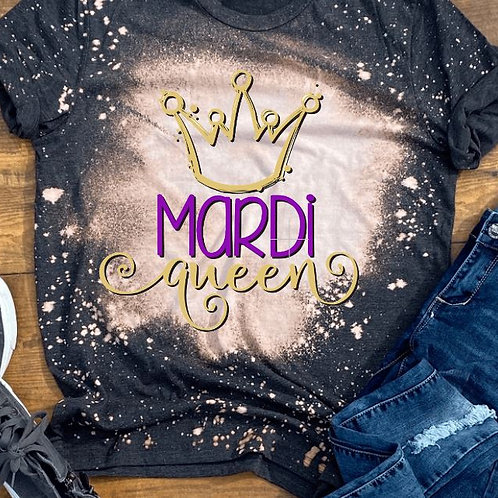 BLEACHED TEE Short or Long Sleeve Mardi Queen