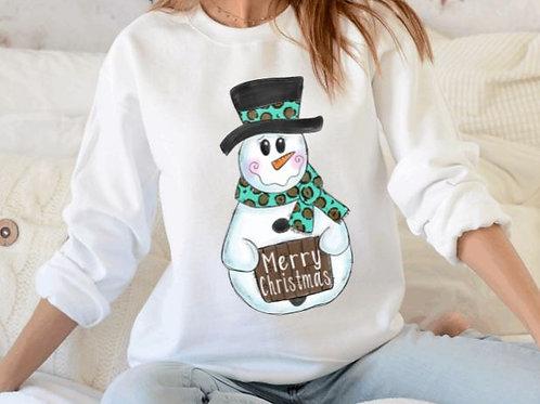 SUBLIMATED Sweatshirt Snowman Merry Christmas Teal