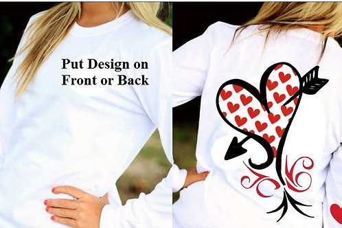 LONG SLEEVE VALENTINE'S DAY SHIRT White with Hearts