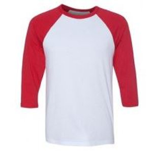Bella & Canvas Unisex 3/4 Sleeve Raglan Tee Red/White
