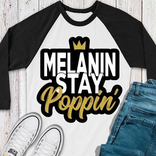 SUBLIMATED TEE RAGLAN Black History Melanin Stay Poppin Gold