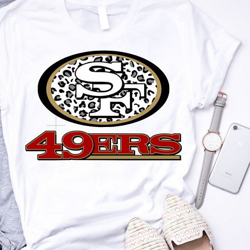 SUBLIMATED TRANSFER ONLY 49ers Logo Black Leopard