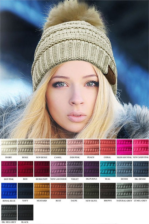 CC Knitted Hat with Fur Pom Pom Beanie Many Colors