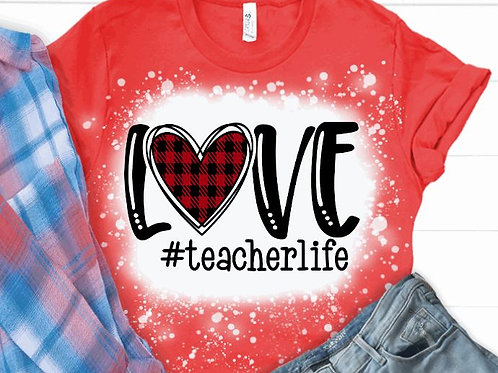 BLEACHED TEE Short or Long Sleeve Valentine LOVE Plaid Heart ANY HASHTAG