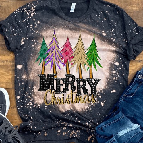 BLEACHED TEE Short or Long Sleeve Merry Christmas Trees Marquee