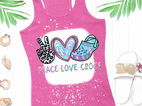 BLEACHED TANK TOP or TEE Peace Love Crocs