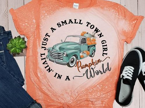 BLEACHED TEE Short or Long Sleeve Small Town Girl Pumpkin World Teal