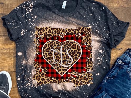 BLEACHED TEE Short or Long Sleeve Valentine Monogram#3