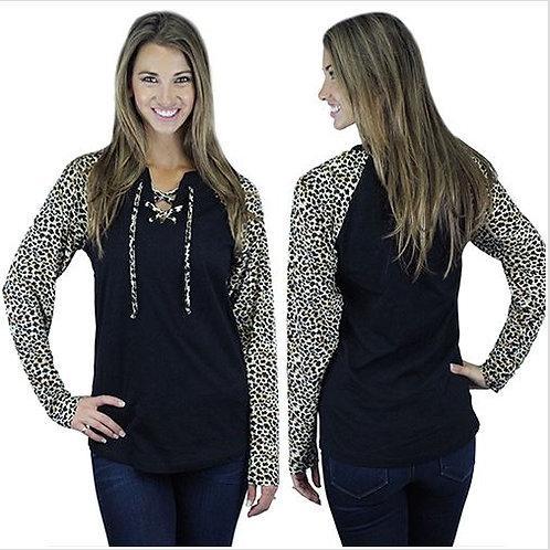 Lace Up Leopard Raglan Sleeve Shirt Black