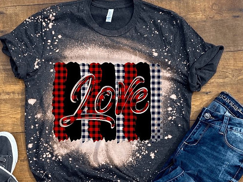 BLEACHED TEE Short or Long Sleeve Valentine Love Plaid Backsplash