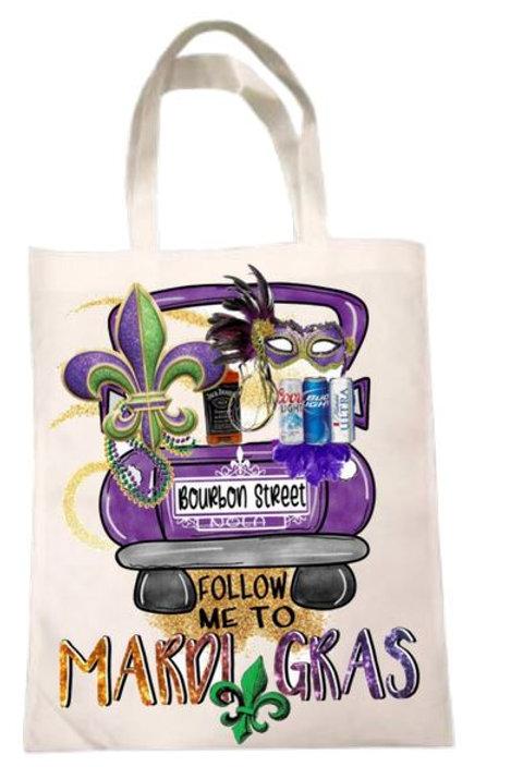 SUBLIMATED Tote Bag Mardi Gras Bead Bag - Follow Me to Mardi Gras