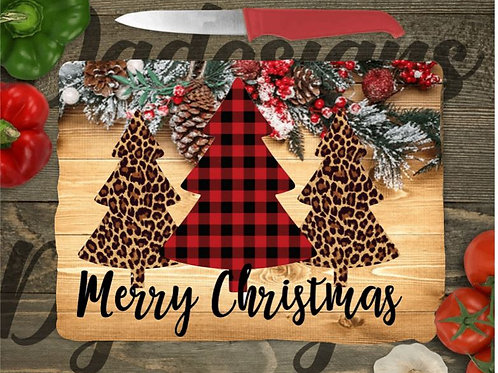 SUBLIMATED Glass Cutting Board SMALL or LARGE Merry Christmas PlaidLeopard Trees