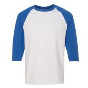 Gildan Unisex 3/4 Sleeve Raglan Tee Royal/White