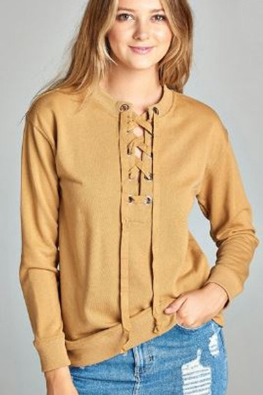 Long Raglan Sleeve Lace-up French Terry Shirt Mustard