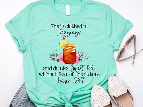 SUBLIMATED TEE Short or Long Sleeve Shes Clothed in Leggings and Sweet Tea