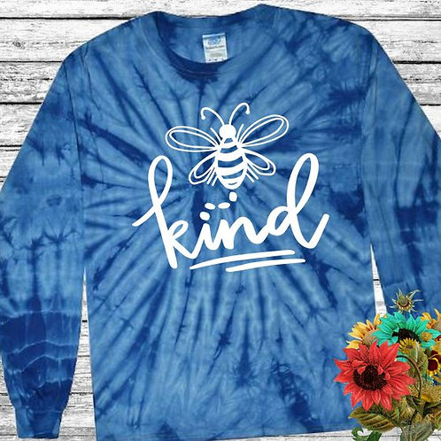 Graphic Tie Dye TEE Long Sleeve Be Kind Spider Royal