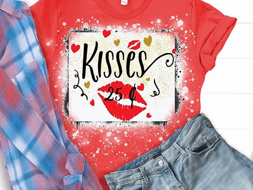 BLEACHED TEE Short or Long Sleeve Valentine Kisses 25 cents