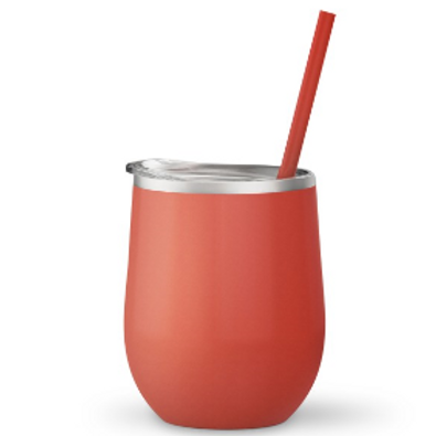Bev Steel 12 oz Double Wall Stainless Steel Tumbler Coral