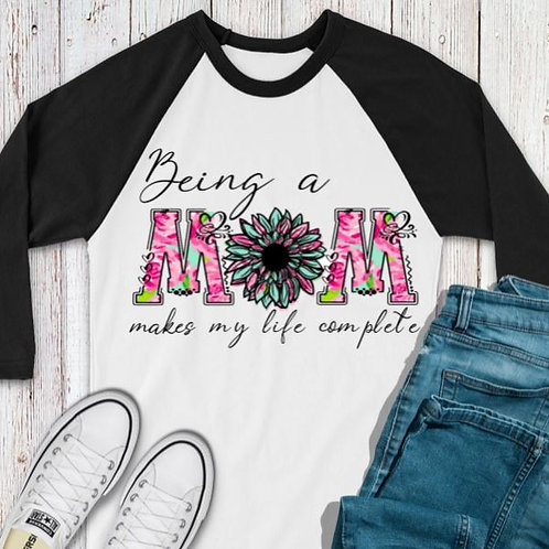 SUBLIMATED TEE RAGLAN Being a Mom Pink Mint