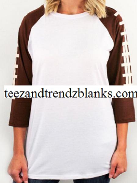 Football Design Baseball 3/4 Raglan Shirt 5 Styles