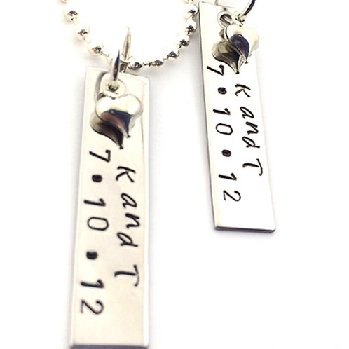 Personalized Initials and Date Necklace