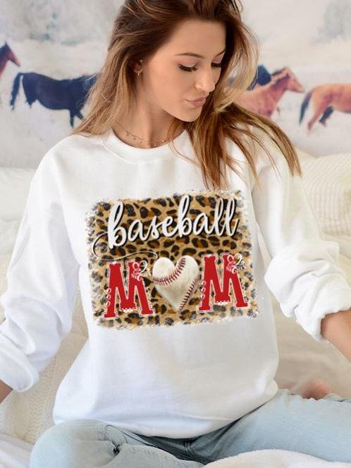 SUBLIMATED Sweatshirt Baseball Mom Heart Leopard ANY COLOR