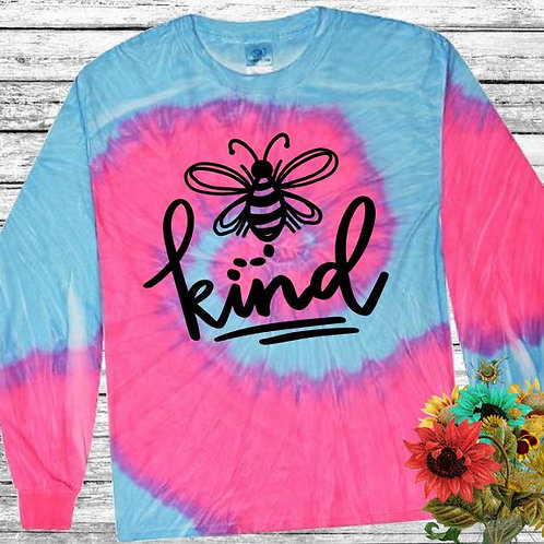 Graphic Tie Dye TEE Long Sleeve Be Kind Flo Blue Pink